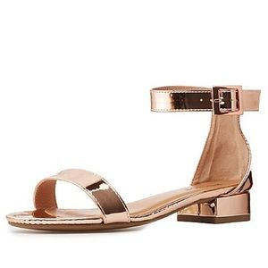 Bamboo Rose Gold Small Heel Sandal SZ 8 New